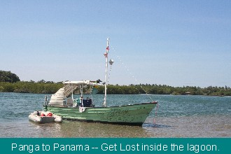 Panga Get Lost is anchored in the lagoon